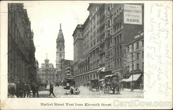 Market Street West from Eleventh Street Philadelphia Pennsylvania