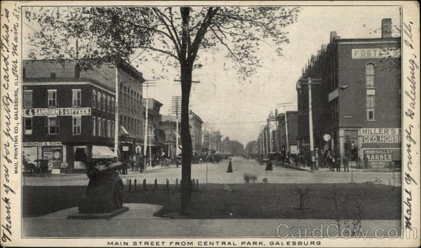 Main Street from Central Park Galesburg Illinois
