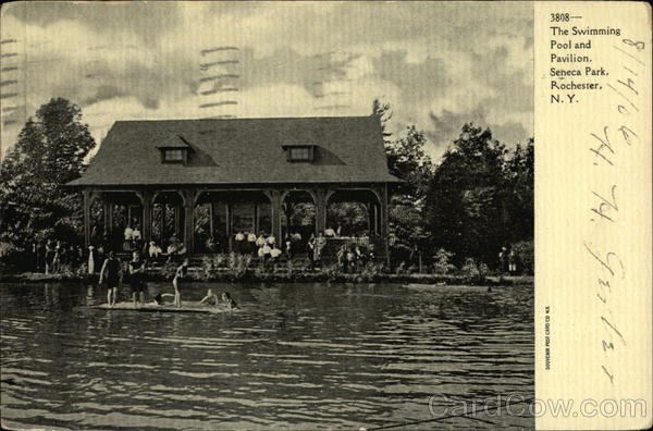 Swimming Pool And Pavilion Seneca Park Rochester Ny Postcard