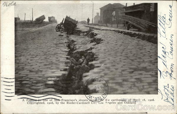 Fissure in One Of San Francisco's Streets Caused by the Earthquake of April 18, 1906 California