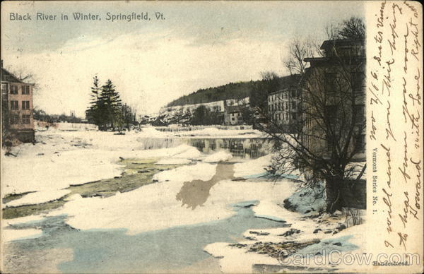 Black River in Winter Springfield Vermont