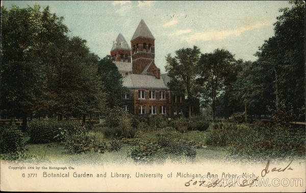 University Of Michigan Botanical Garden And Library Ann Arbor Mi Postcard