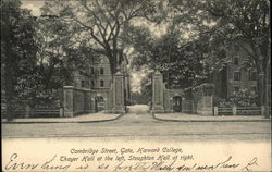 Cambridge Street, Gate, Harvard College, Thayer Hall at the left, Stoughton Hall at right