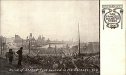 Ruins of Street Cars Burned in the Streets - 1906 Disaster