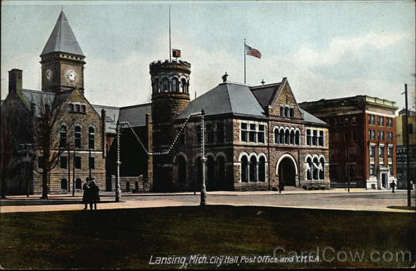 City Hall, Post Office and Y.M.C.A. Lansing Michigan