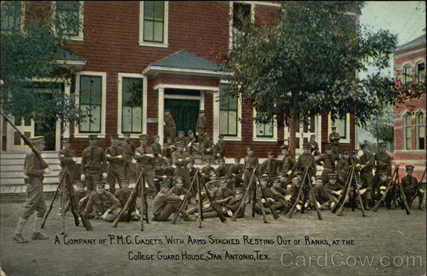 A Company of P.M.C. Cadets with Arms Stacked Resting Out of Ranks San Antonio Texas