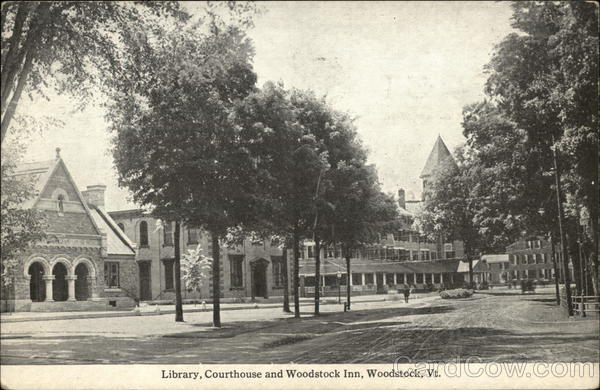 Library, Courthouse and Woodstock Inn Vermont
