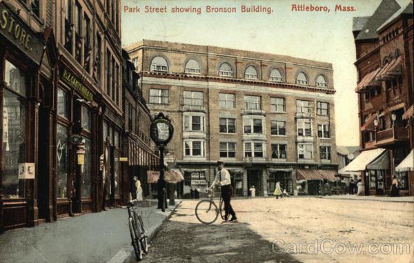 Park Street showing Bronson Building Attleboro, MA Postcard