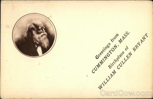 Greetings from Cummington, Mass., Birthplace of William Cullen Bryant Massachusetts