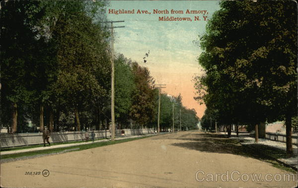 Highland Ave., North from Armory Middletown New York