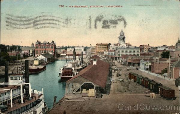 Waterfront stockton ca postcard for Shirt printing stockton ca