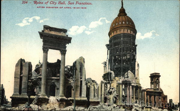 Ruins of City Hall After Disaster of April 18-20, 1906 San Francisco California