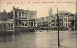 North and South Corners of 5th and Main St. During Great Flood, March 1913