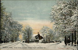 Snow Scene, Junction of West Main & Wildwood Ave. Postcard