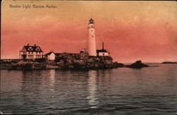 Boston Light, Boston Harbor Postcard