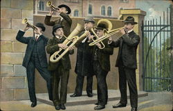 Six Men Blowing Horns Outside a Gate