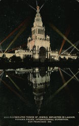 Illuminated Tower of Jewels, Reflected in Lagoon