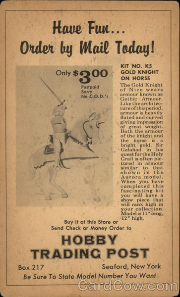 Hobby Trading Post - Gold Knight On Horse Kit Advertising