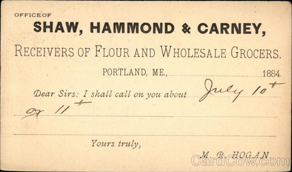 Calling Card from Shaw, Hammond, and Carney, Receivers of Flour and Wholesale Grocers