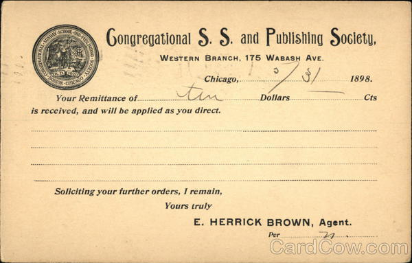 Receipt from Congregational S. S. and Publishing Society
