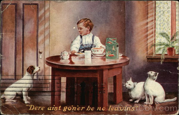 Boy Eating Egg-O-See with Dog and Cats Begging Advertising