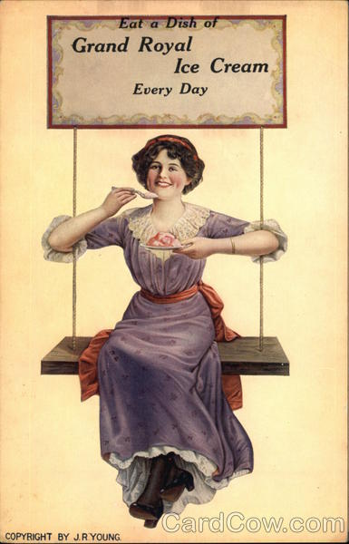 Woman on a Swing Eating Grand Royal Ice Cream Advertising