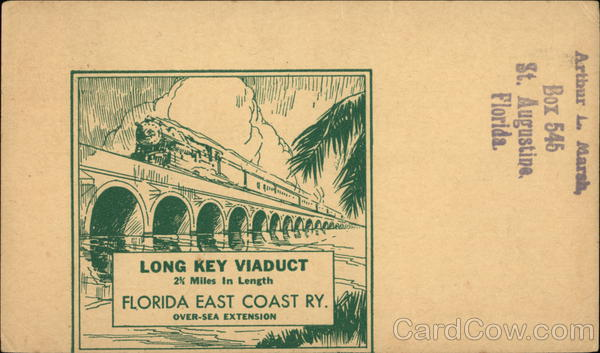 Long Key Viaduct, Florida East Coast Railway Trains, Railroad