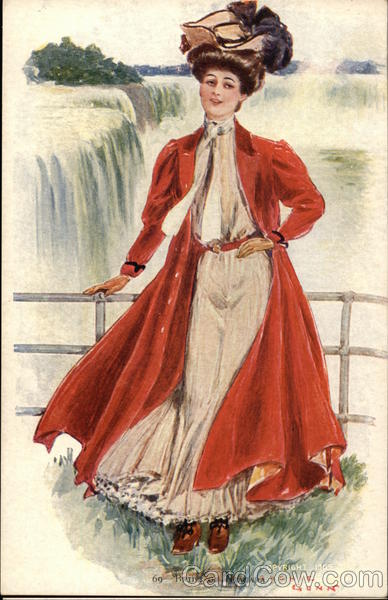 Illustration - Woman in front of Niagara Falls Archie Gunn