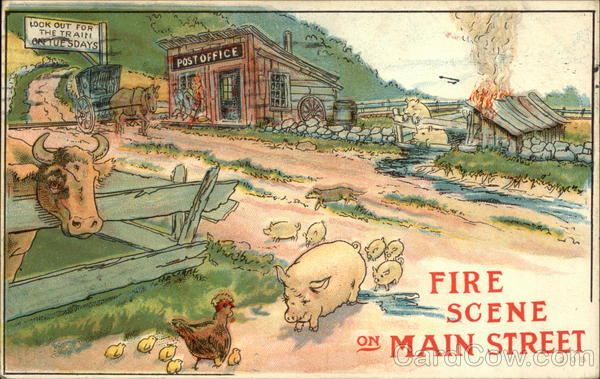 Fire Scene On Main Street Comic, Funny