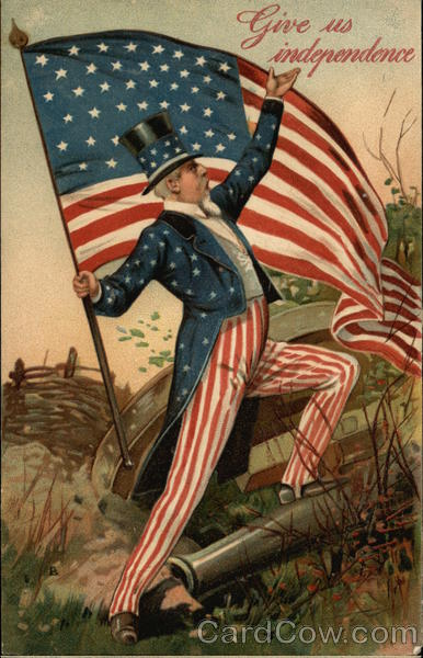 Give Us Independence - with Uncle Sam holding American Flag