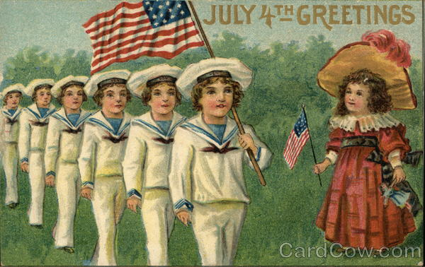 July 4th Greetings with Sailor Boys, Girl, and American F lags