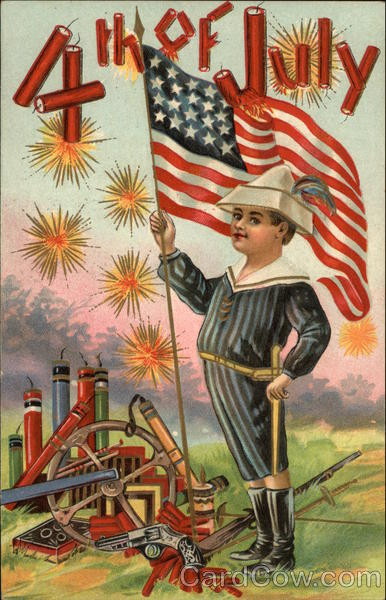4th of July with Fireworks and Boy holding American Flag