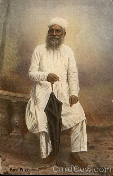 Parsi Priest in White Robes Antique Postcard