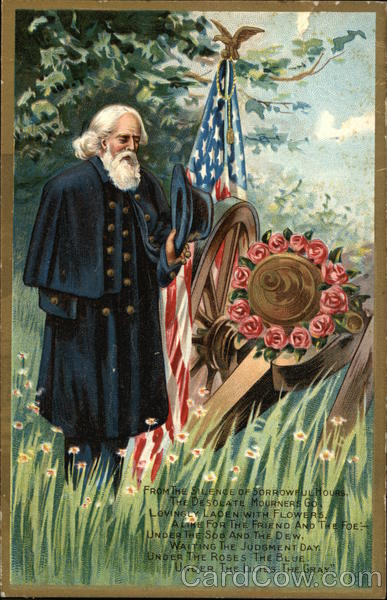 Civil War Veteran Stands Solemnly By U.S. Flag and Cannon Adorned with Flowers