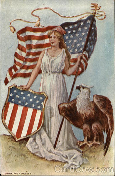 Woman with Flag, Shield, Eagle Patriotic