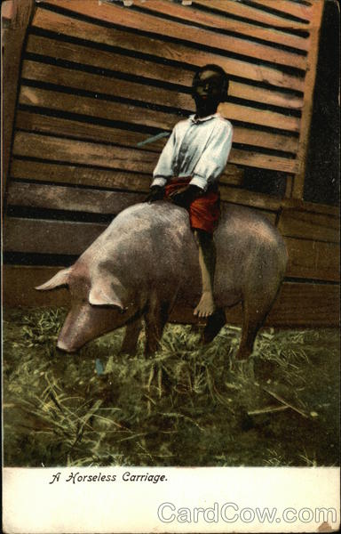A Horseless Carriage - Black Boy riding Pig Black Americana