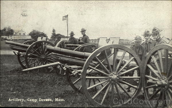 Soldiers with Artillery at Camp Devens, Mass Military