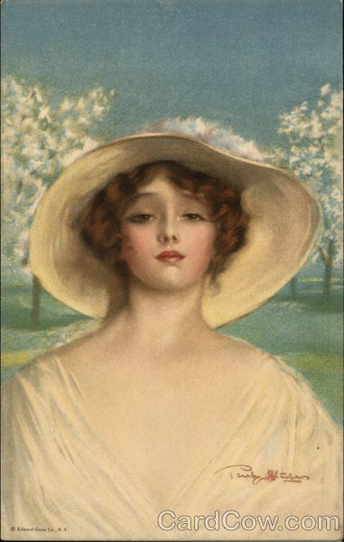 Beautiful Woman with Hat in Orchard Penrhyn Stanlaws