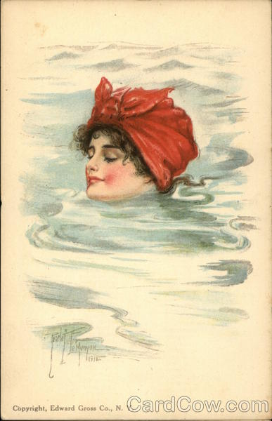 Woman Swimming up to Neck in Water, Red Scarf Pearle Fidler LeMunyan