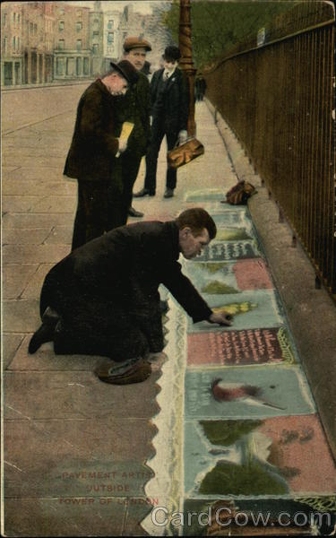 Pavement Artist Outside Tower of London England