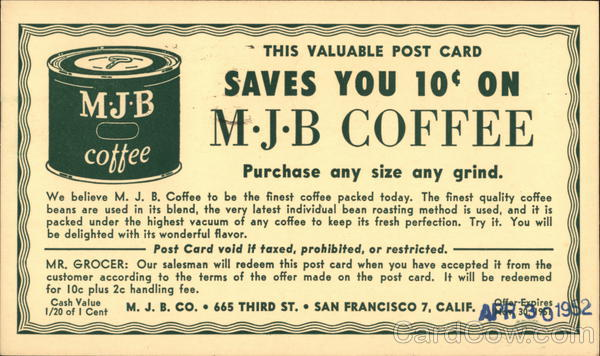Advertisement and Coupon for MJB Coffee Advertising