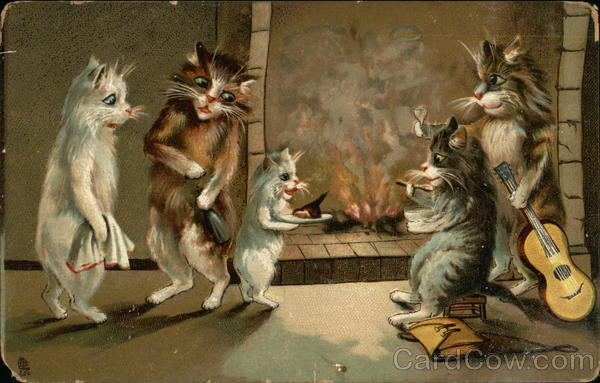 Five Cats by a Fireplace with Guitar, Towel, Meat, and Bottle