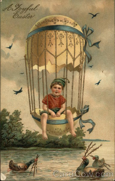 Boy in Easter Egg Balloon With Children