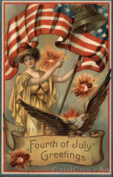 Lady Lliberty with Eagle, Flag, Bell and Fireworks