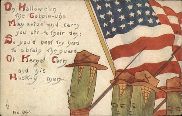 Ears of Corn as Soldiers with USA Flag on Halloween