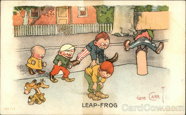 Children and Dogs Playing Leap-Frog Illustration Gene Carr