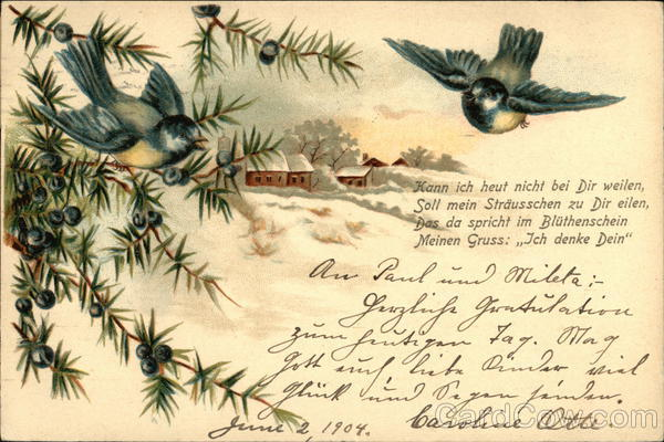 Bluebirds, Berries, Winter Scene - German Language