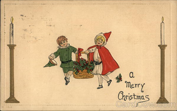 A Merry Christmas with Boy and Girl carrying Basket of Holly