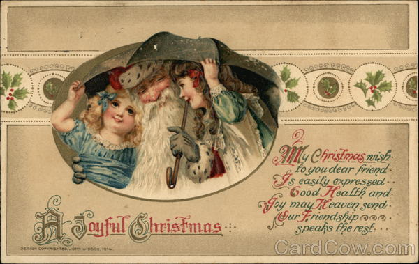 A Joyful Christmas with Santa and Children under Umbrella