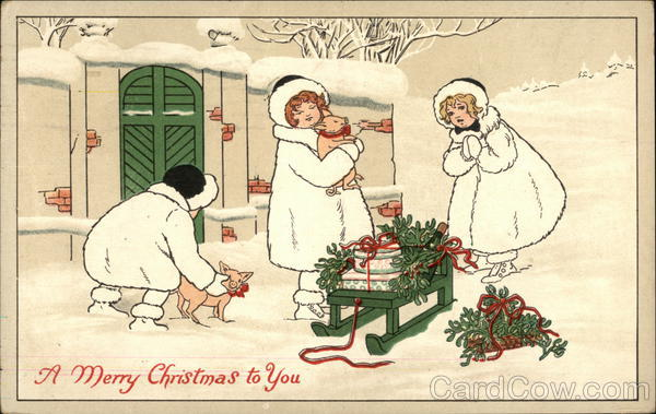 A Merry Christmas to You - With Girls, Piglets, and Sled in the snow